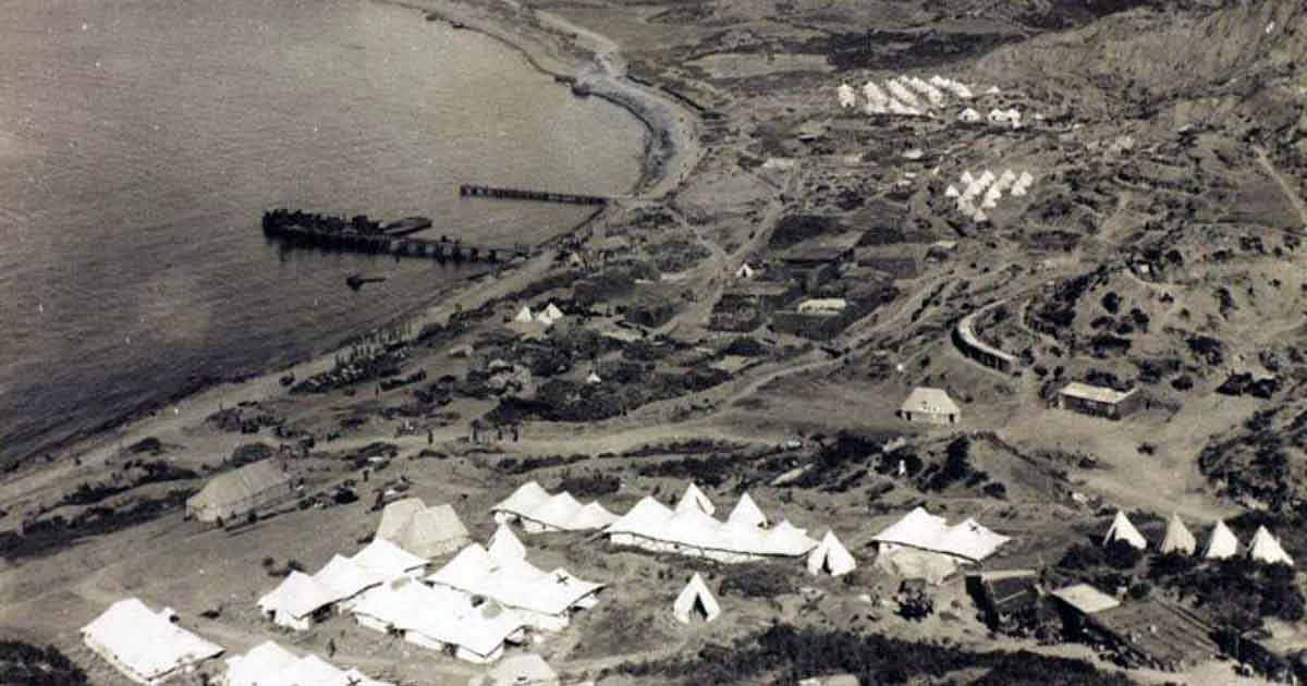 Waterfront camp at Gallipoli during World War One