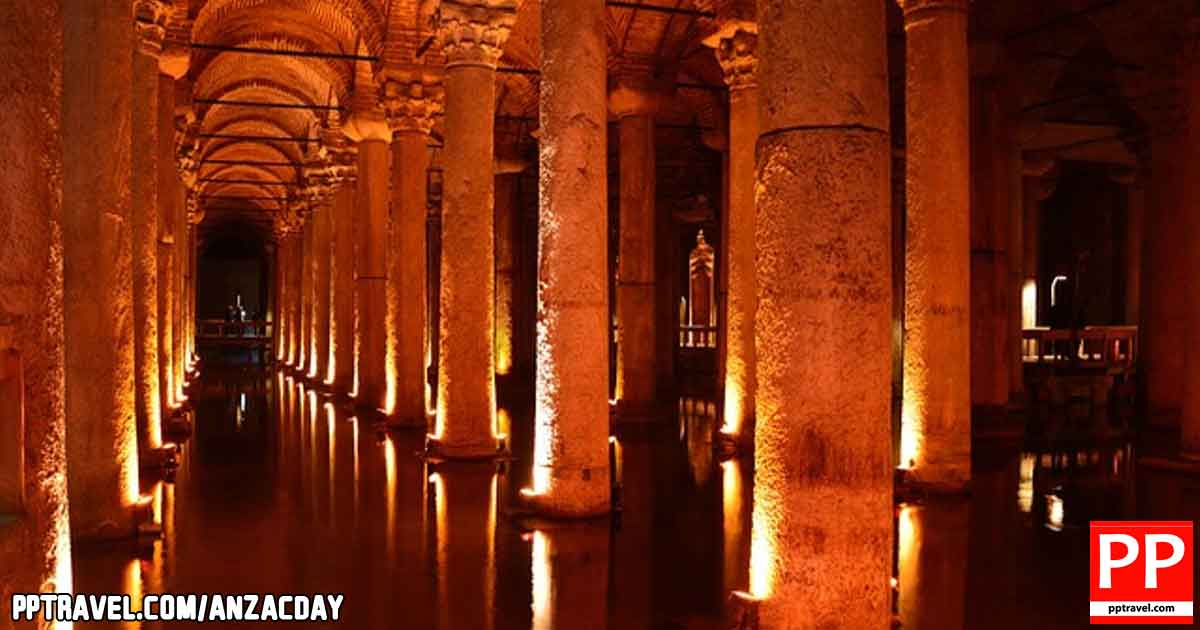 The Basilica Cistern, or Cisterna Basilica, is the largest of several hundred ancient cisterns that lie beneath the city of Istanbul.